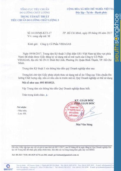 giấy chứng nhận của viên uống chùm ngây trị nám Melast