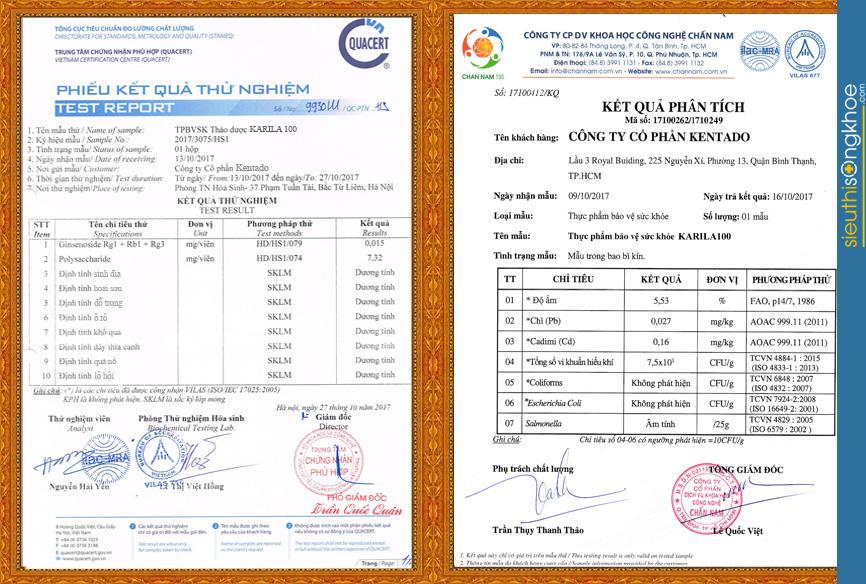 giấy chứng nhận viên uống trị tiểu đường Karila
