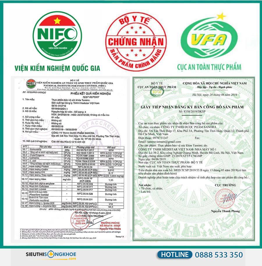 giấy chứng nhận viên uống tăng cân tamino