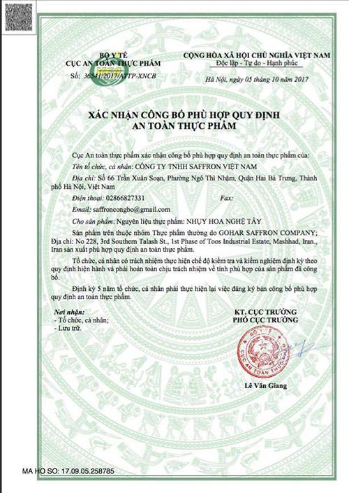 giấy chứng nhận nhụy hoa nghệ tây saffon việt nam