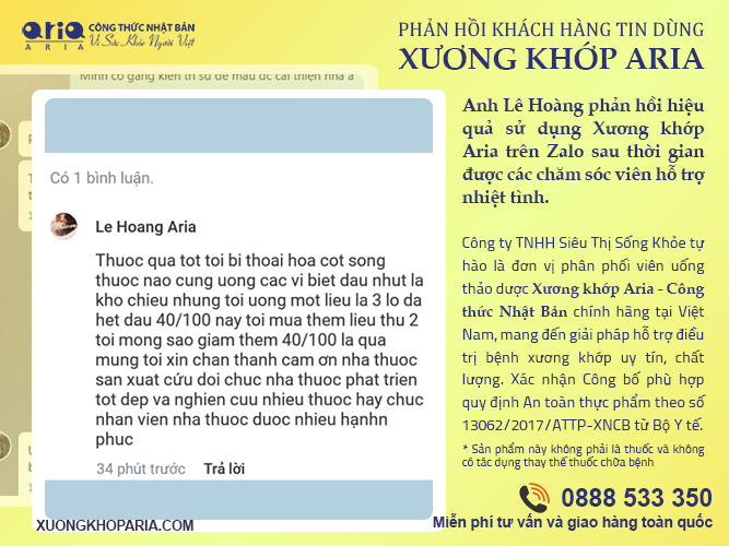 CÓ AI DÙNG XƯƠNG KHỚP ARIA CHƯA - phản hồi khách hàng - anh Lê Hoàng sau khi sử dụng
