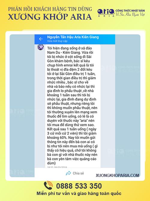 CÓ AI DÙNG XƯƠNG KHỚP ARIA CHƯA - phản hồi khách hàng - anh Tấn Hậu khi sử dụng Xương khớp Aria