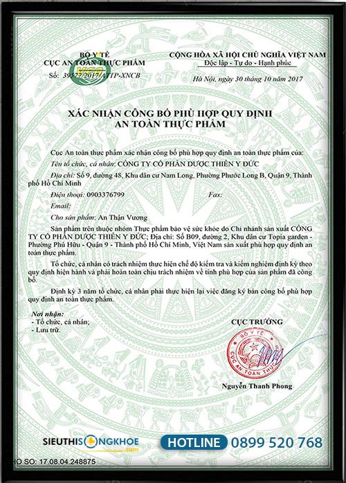 giấy chứng nhận an thận vuong
