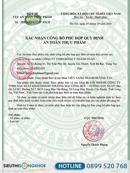 giấy chứng nhận thanh hương tán