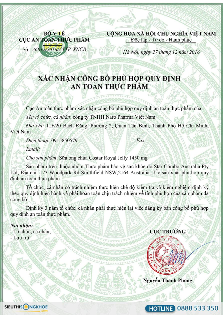 Sua ong chua costar royal jelly 1450mg 11