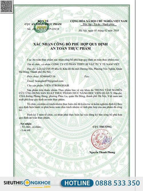 giấy chứng nhận strong hair học viên quân y