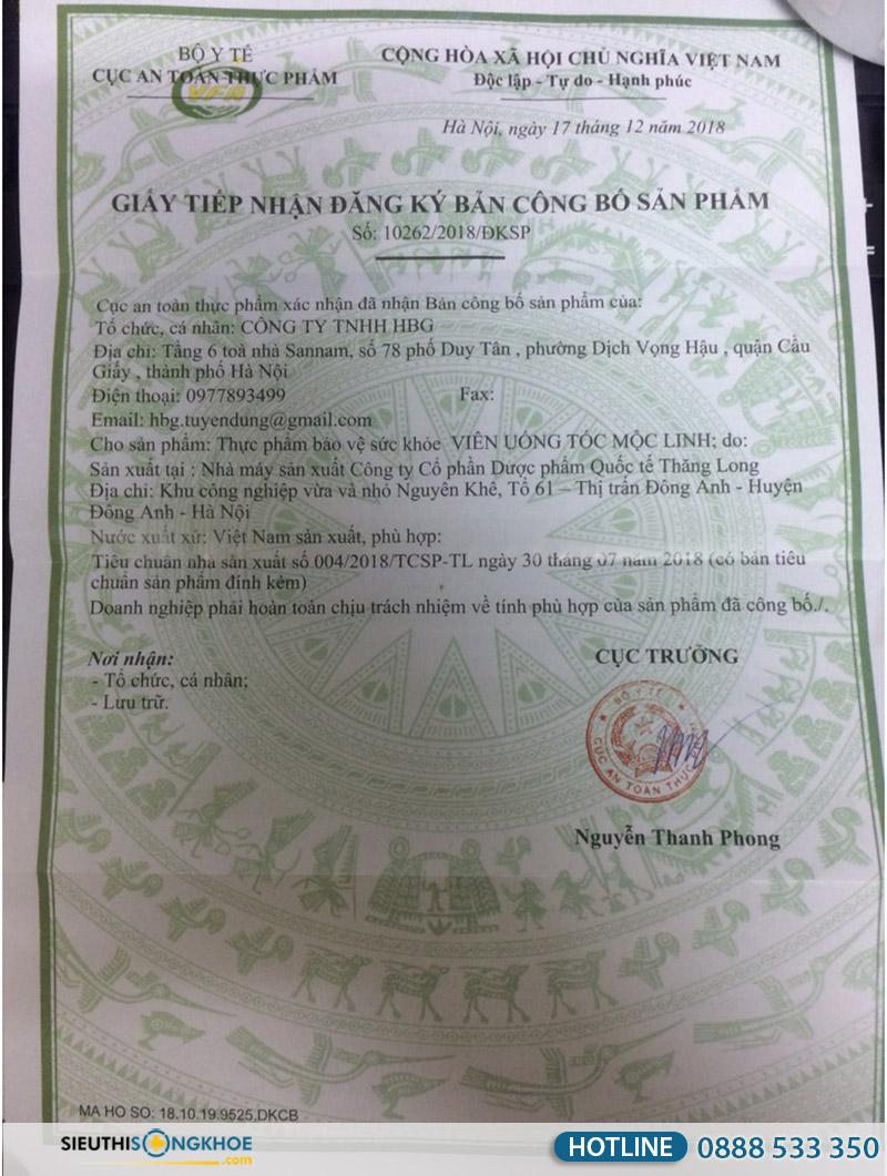 giấy chứng nhận viên uống tóc mộc linh