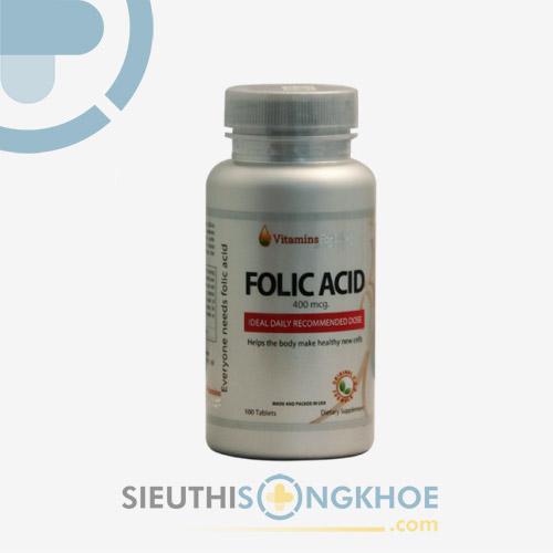 Viên Bổ Thai Folic Acid 400mcg Vitamins For Life - Bổ Máu, Cung Cấp Dinh Dưỡng Cho Thai Nhi