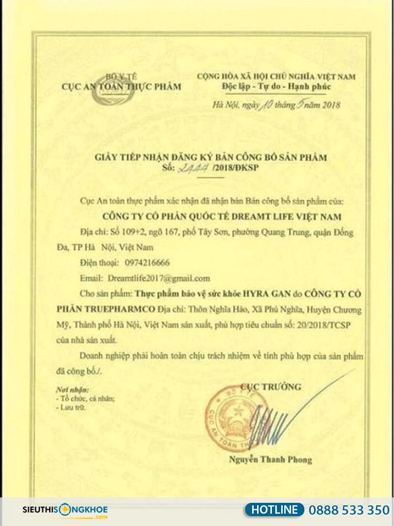 giấy chứng nhận hyra gan