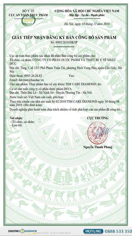 giấy chứng nhận bộ y tế tim care diamond