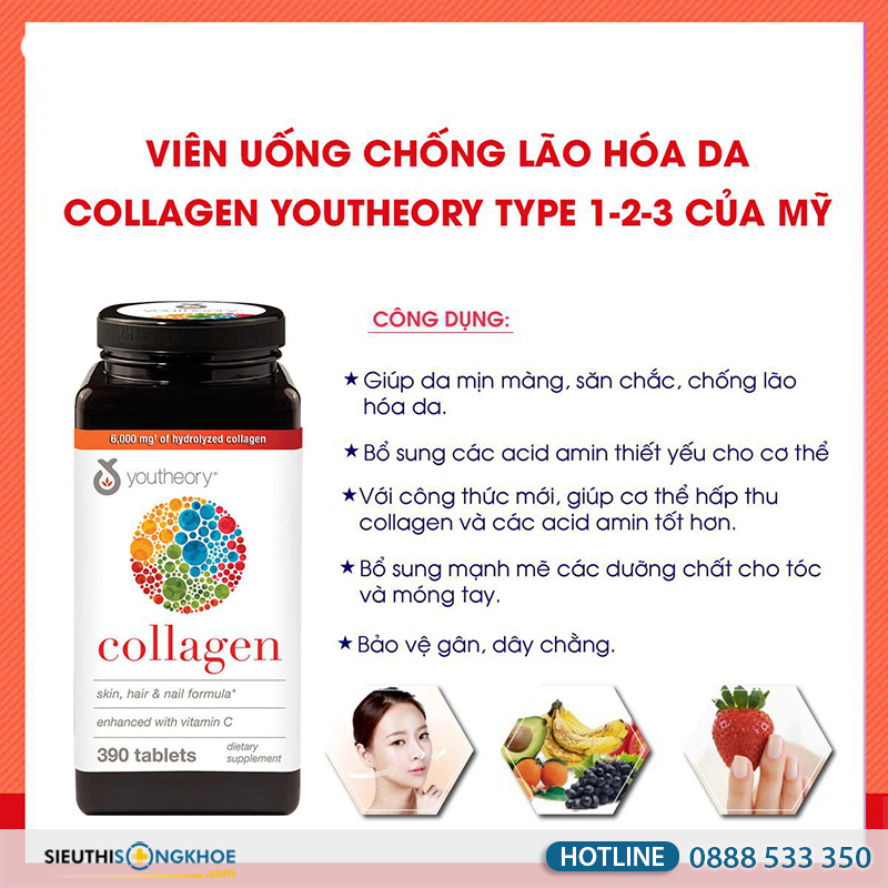 công dụng collagen youtheory type 1,2 & 3