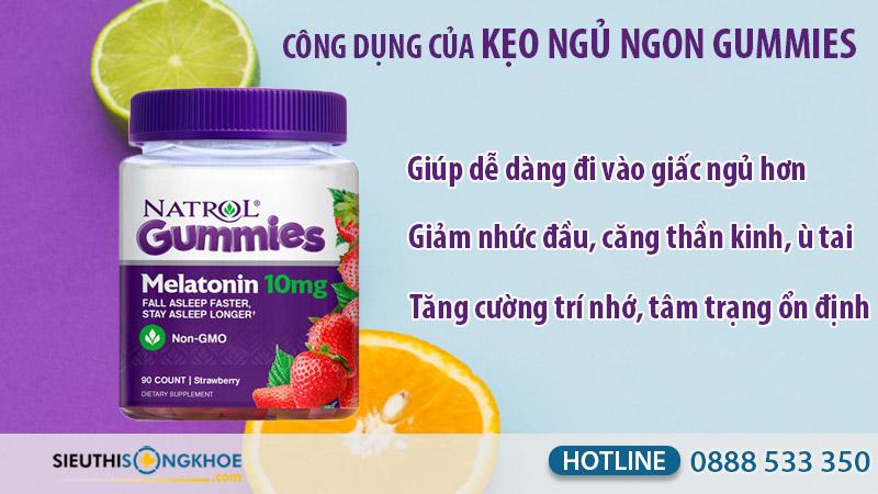 công dụng kẹo dẻo ngủ ngon natrol gummies melatonin