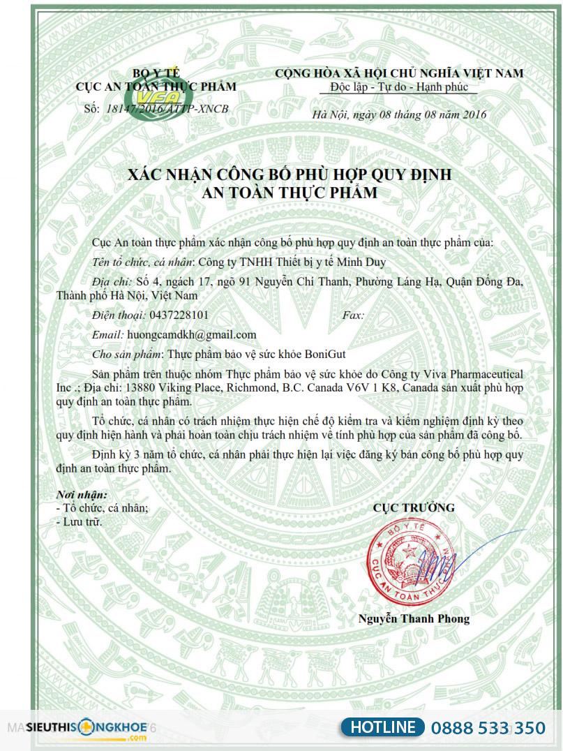 giấy chứng nhận bonigut