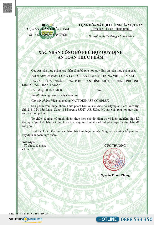 giấy chứng nhận nattokinase complex