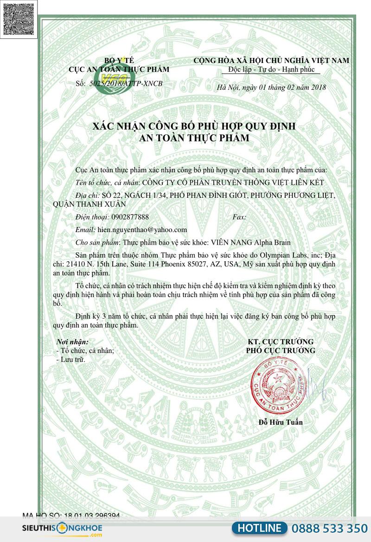 giấy chứng nhận alpha brain