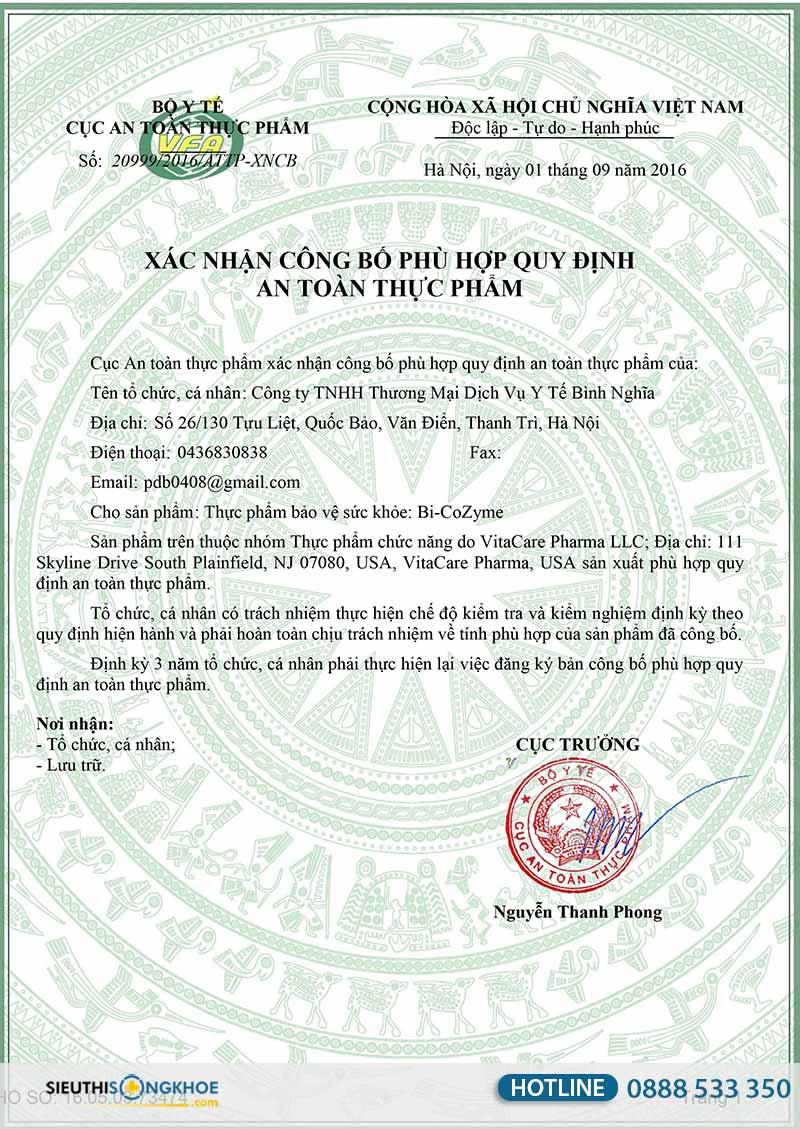 giấy chứng nhận bi-cozyme