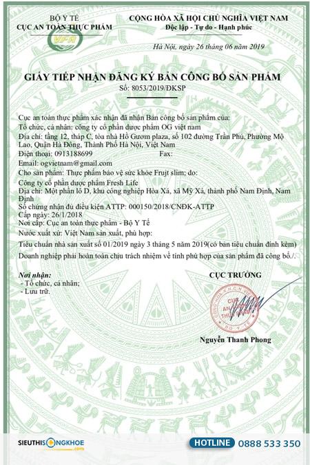 giấy chứng nhận frujt slim