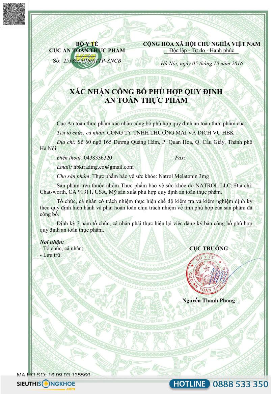giấy chứng nhận kẹo dẻo ngủ ngon natrol gummies melatonin