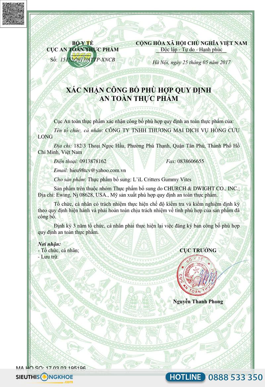 giấy chứng nhận lil critters gummy vites