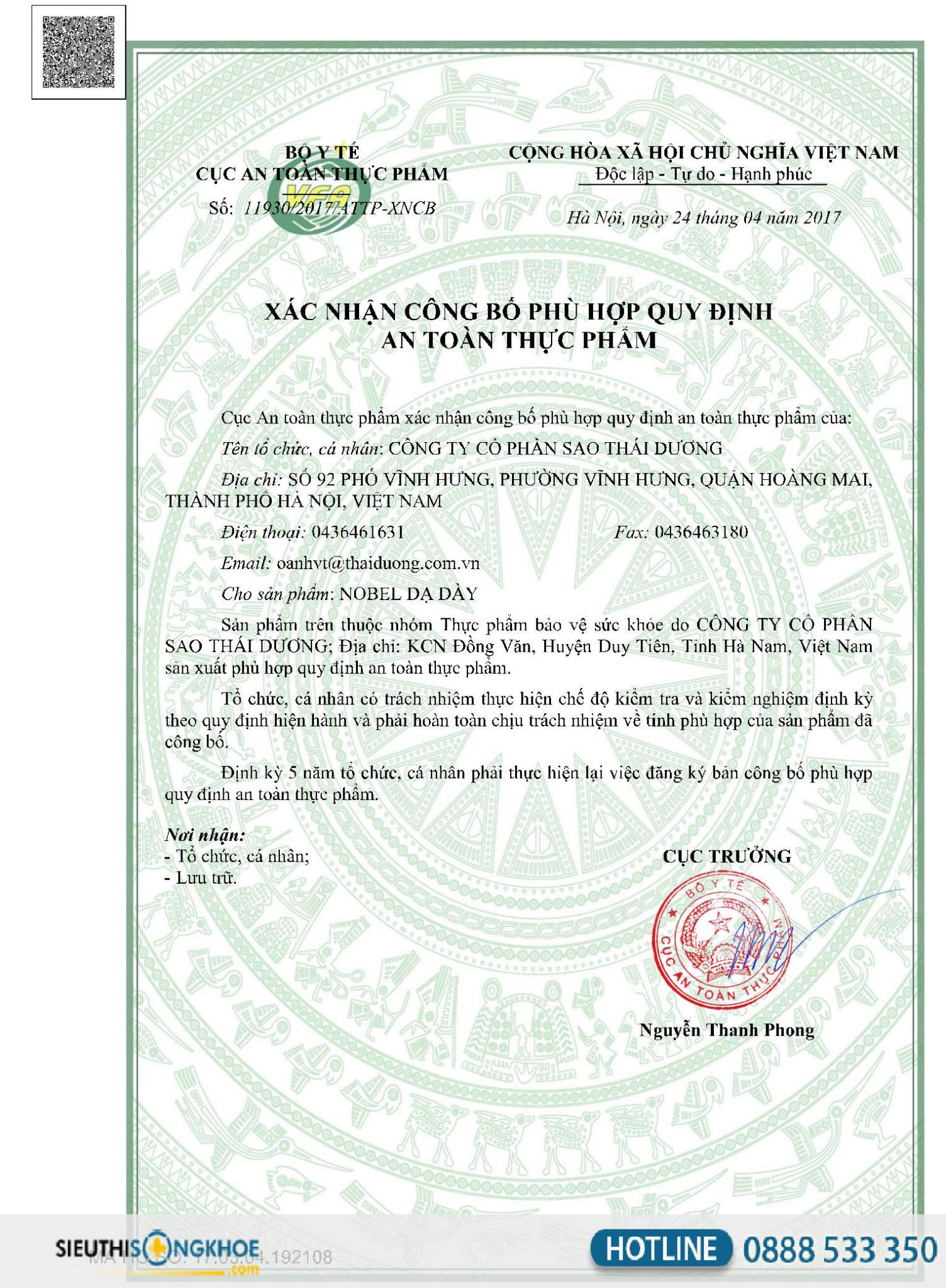 giấy chứng nhận nobel dạ dày