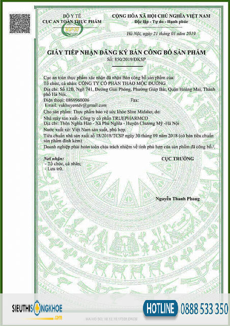giấy chứng nhận slim midaho