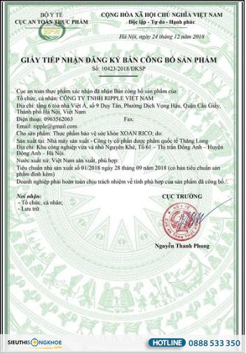 giấy chứng nhận xoan rico