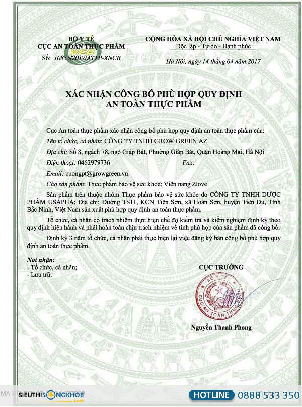 giấy chứng nhận zlove