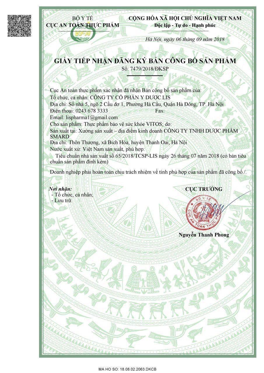 giấy chứng nhận dạ dày vitos