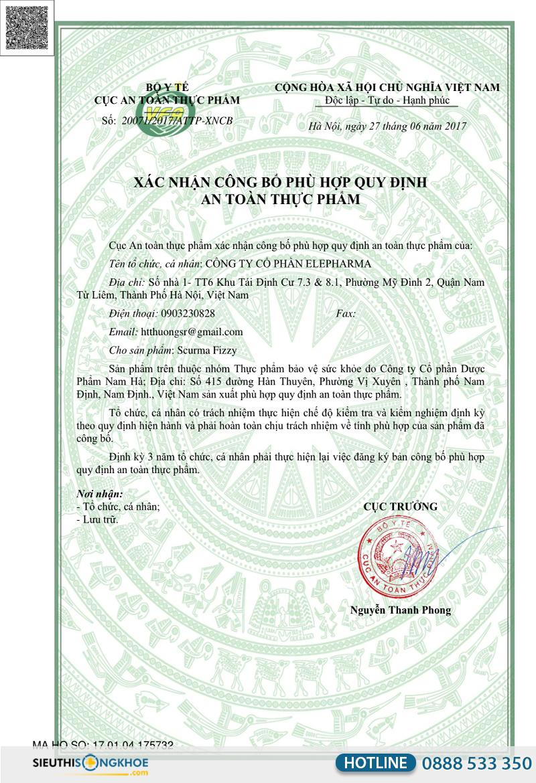 giấy chứng nhận scurma fizzy