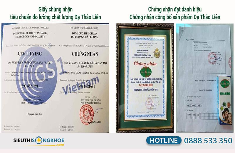 giấy chứng nhận dạ thảo liên