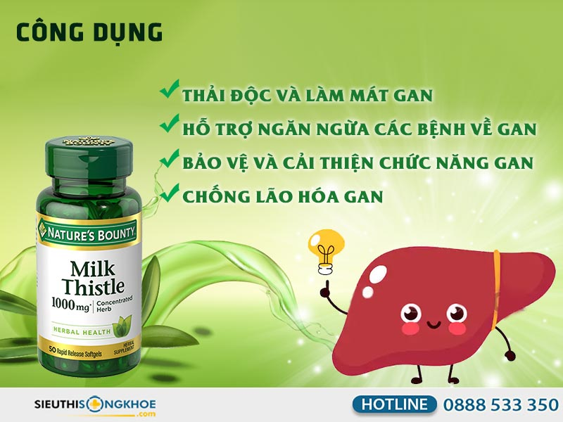 công dụng silymarin milk thistle nature's bounty