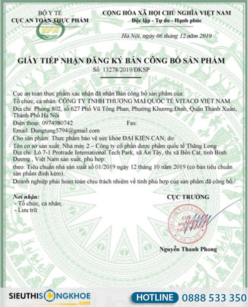 giấy chứng nhận đại kiện can