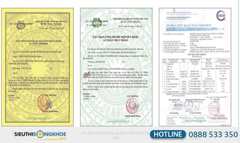 giấy chứng nhận green collagen powder