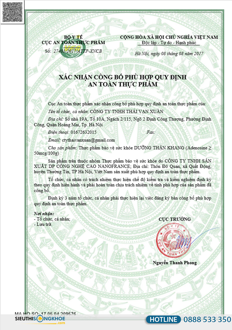 giấy chứng nhận viên uống dưỡng thận khang