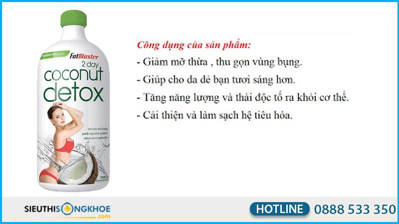 nuoc giam can coconut detox 750ml co tot khong
