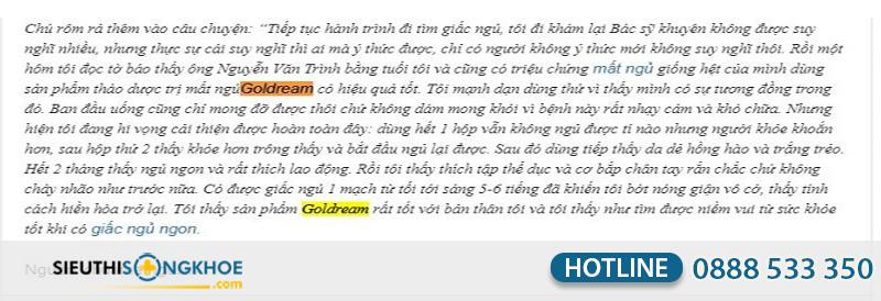 phản hồi goldream