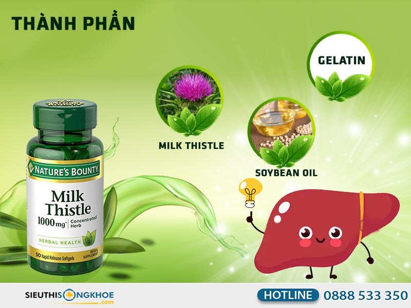 thành phần silymarin milk thistle nature's bounty