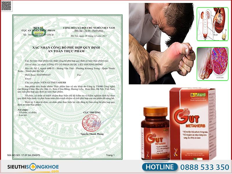 giấy chứng nhận viên giảm đau gut metaherb