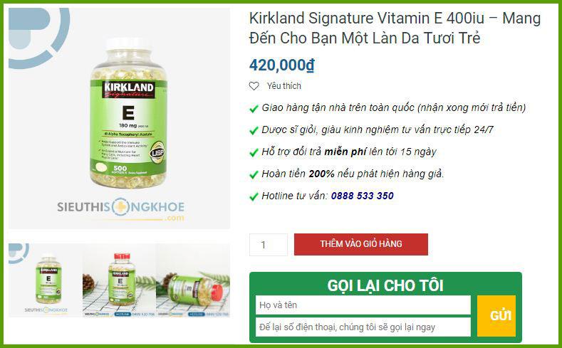 irkland vitamin e 400 iu