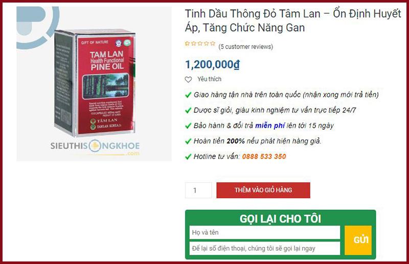 tinh dau thong do tam lan sieu thi song khoe