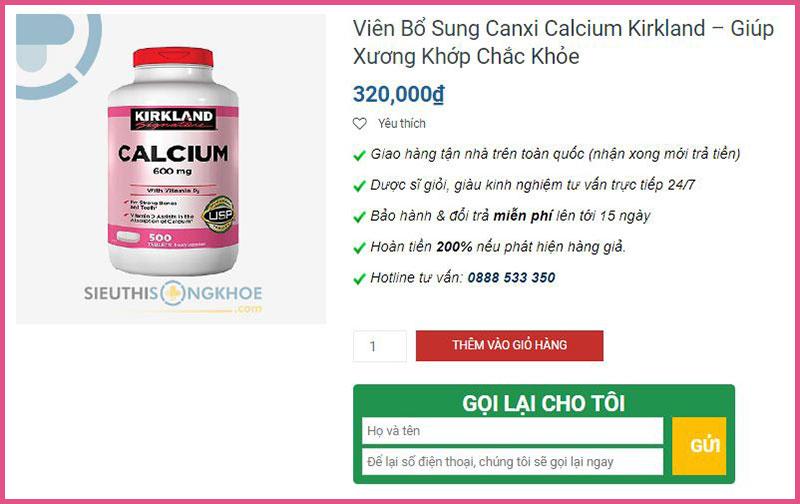 vien bo sung canxi kirkland calcium 600mg
