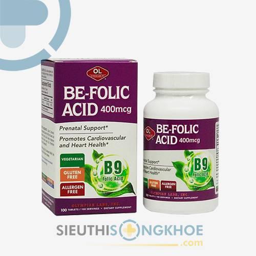 Be Folic Acid 400mcg Olympian Labs - Viên Bổ Thai, Hỗ Trợ Phòng Ngừa Dị Tật Cho Thai Nhi