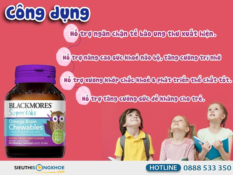 công dụng của blackmores superkids omega brain chewables
