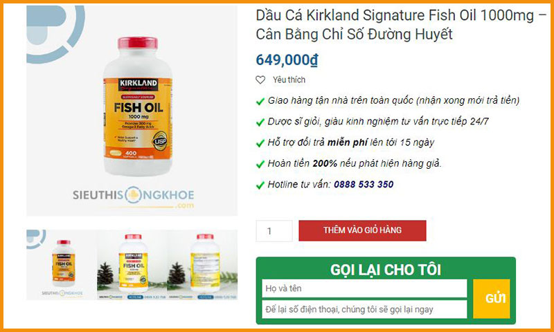 dau ca kirkland signature fish oil 1000mg sieu thi song khoe