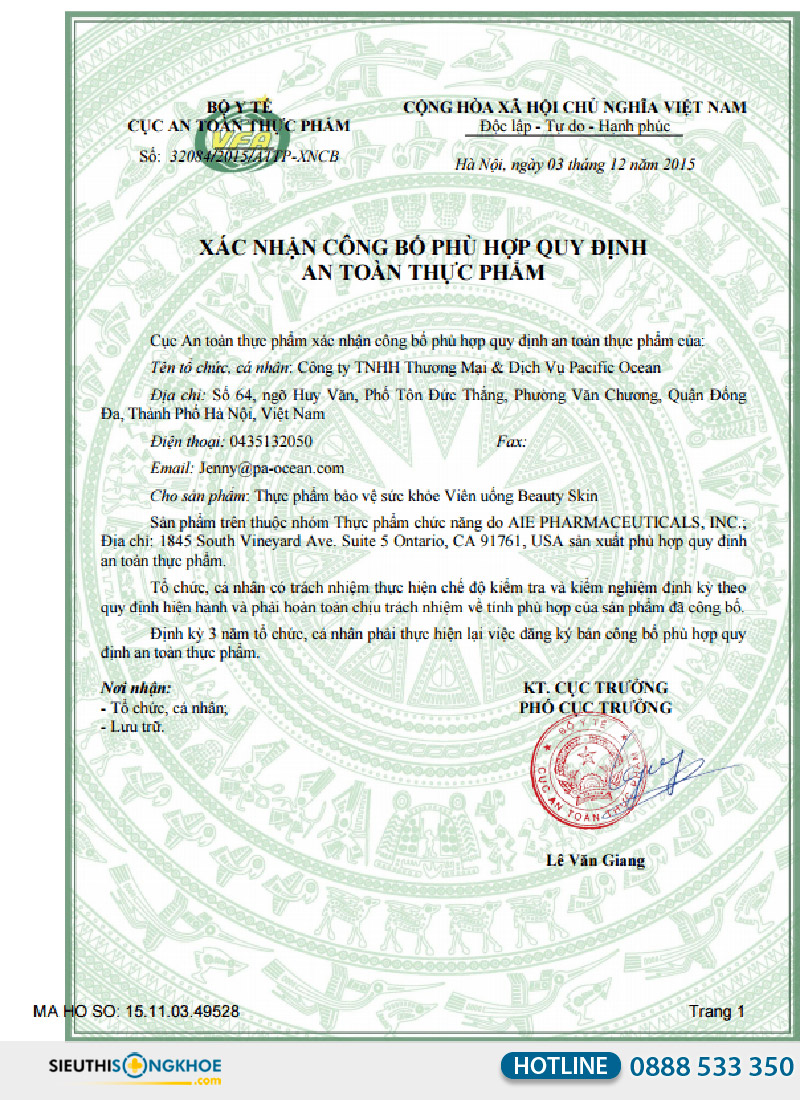 giấy chứng nhận của beauty skin plus