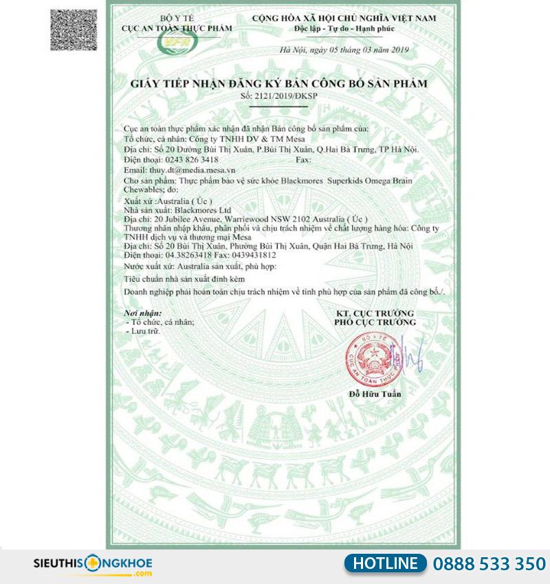 giấy chứng nhận blackmores superkids omega brain chewables