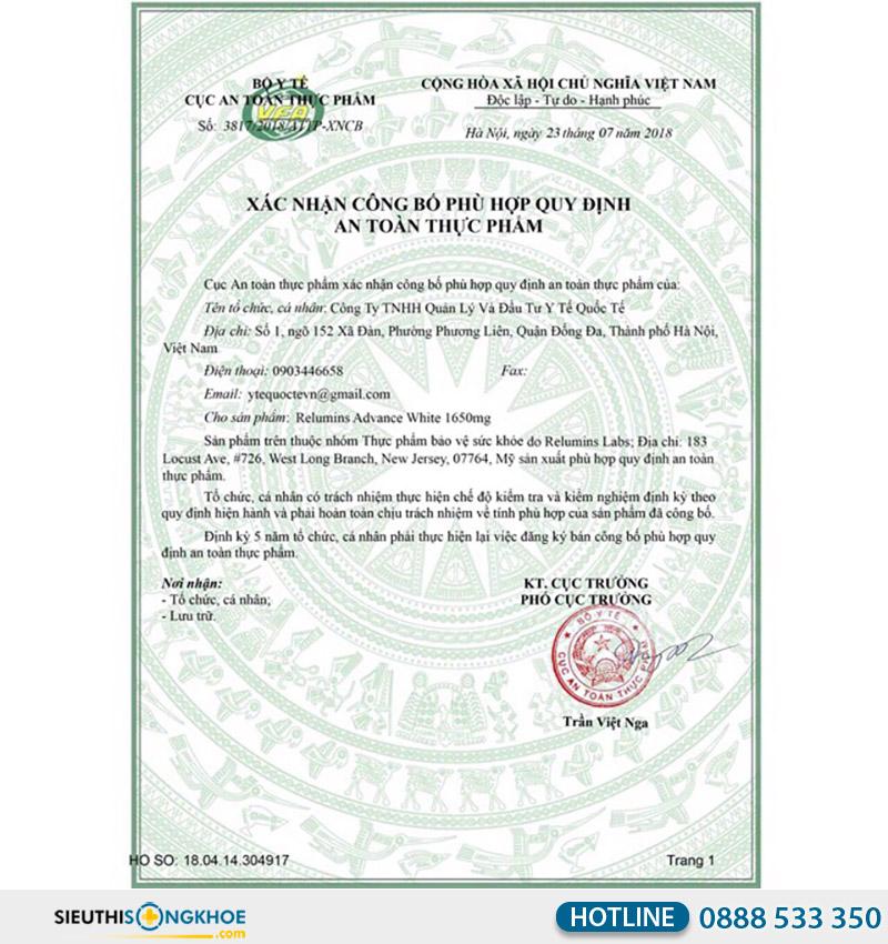 giấy chứng nhận của relumins advance white 1650mg