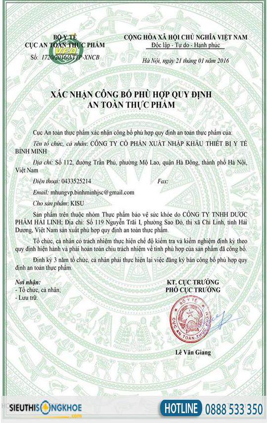 giấy chứng nhận kisu