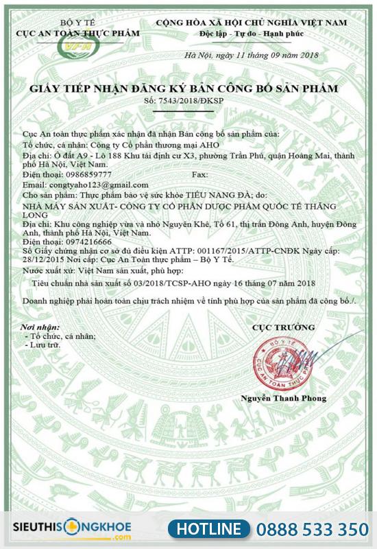 giấy chứng nhận tiêu nang đà