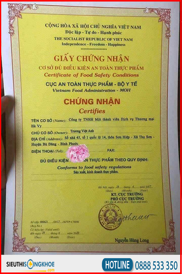giấy chứng nhận viên uống đào hoa ngọc